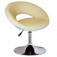 Кресло Беллино, кожзам, хром, регулируется, цвет бело-бежевый