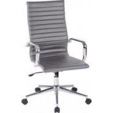 Кресло офисное Алабама НNEW, высокое, экокожа, механизм качания, кожзам серого цвета