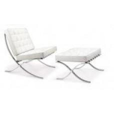 Кресло Барселона с оттоманкой под ноги, экокожа, цвет белый