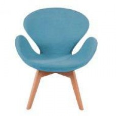 Кресло Сван Вуд Армз, мягкое, ножки бук, ткань, цвет голубой