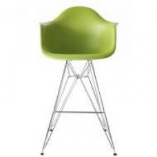 Cтул барный Тауэр Eames, пластик, хром, цвет зеленый