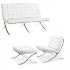Диван Барселона 3 местный, кресло, оттоманка, цвет белый