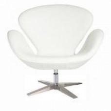 Кресло СВ, экокожа, основание металл, поворачивается, цвет белый