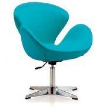 Кресло Сван, основание металл, ткань, цвет голубой