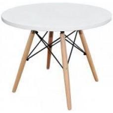 Стол журнальный Тауэр Вуд, деревянный, бук, круглый, цвет белый