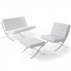 Диван Барселона 2-местный, кресло, оттоманка, цвет белый