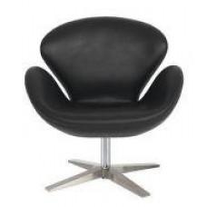 Кресло СВ, мягкое, основание металл, экокожа, цвет черный