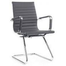 Кресло офисное Алабама Х, экокожа, на полозьях, цвет серый