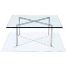 Стол журнальный Барселона, стеклянный, нержавеющая сталь