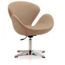 Кресло Сван, мягкое, металл, ткань, цвет коричневый