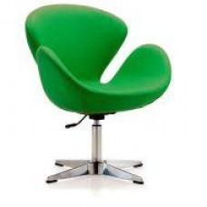 Кресло Сван, мягкое, металл, ткань, цвет зеленый